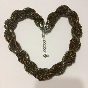 Torsade Necklace bronze seed bead bugle necklace